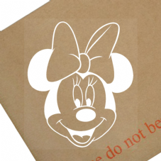 Minnie Mouse Face-Car Window Sticker White-Vinyl,Bumper,Child,Kids,Minny Head